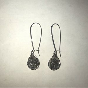Kendra Scott Dee Drop Earrings-Platinum Drusy